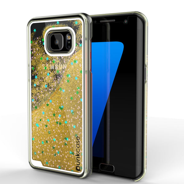 Samsung Galaxy S7 Edge Case, Punkcase [Liquid Gold Series] Protective Dual Layer Floating Glitter Cover + PunkShield Screen Protector