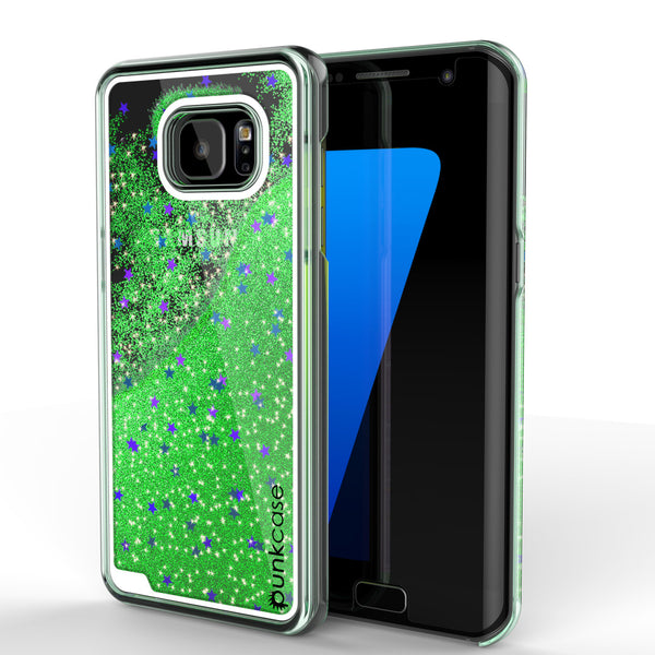 Samsung Galaxy S7 Edge Case, Punkcase [Liquid Green Series] Protective Dual Layer Floating Glitter Cover + PunkShield Screen Protector