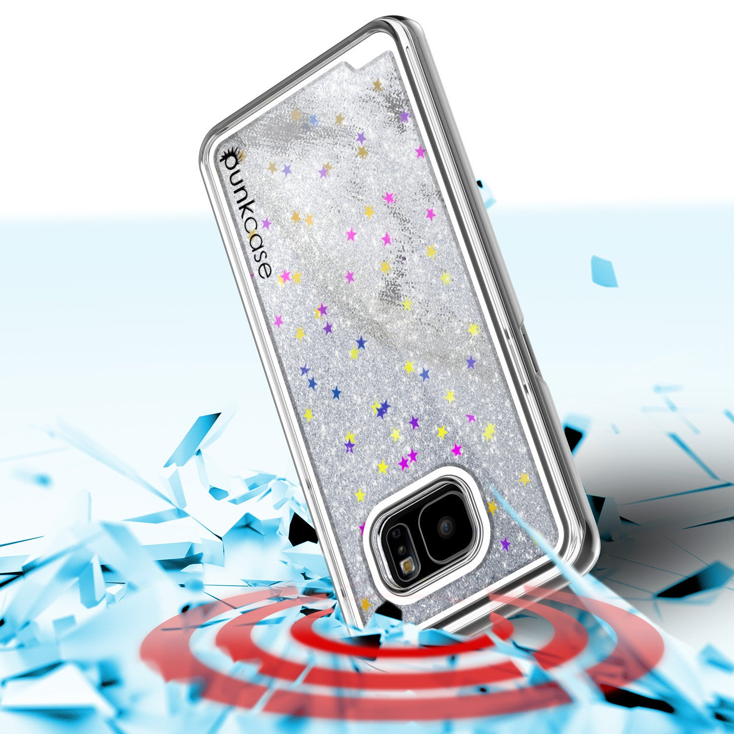 Samsung Galaxy S7 Edge Case, Punkcase [Liquid Silver Series] Protective Dual Layer Floating Glitter Cover + PunkShield Screen Protector