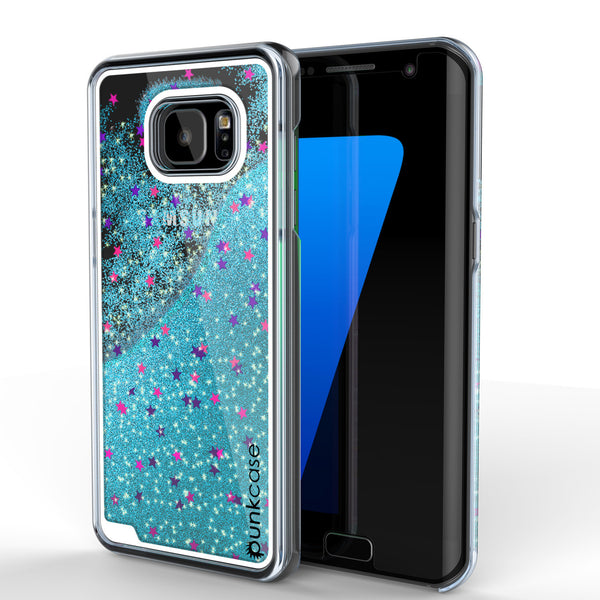 Samsung Galaxy S7 Edge Case, Punkcase [Liquid Teal Series] Protective Dual Layer Floating Glitter Cover + PunkShield Screen Protector