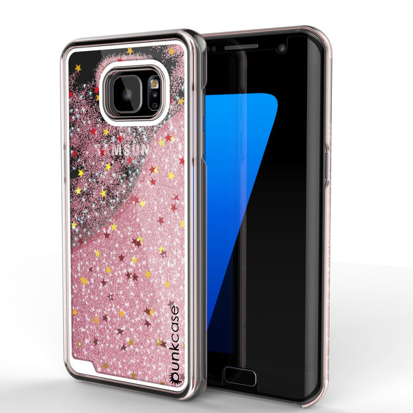 Samsung Galaxy S7 Edge Case, Punkcase [Liquid Rose Series] Protective Dual Layer Floating Glitter Cover + PunkShield Screen Protector