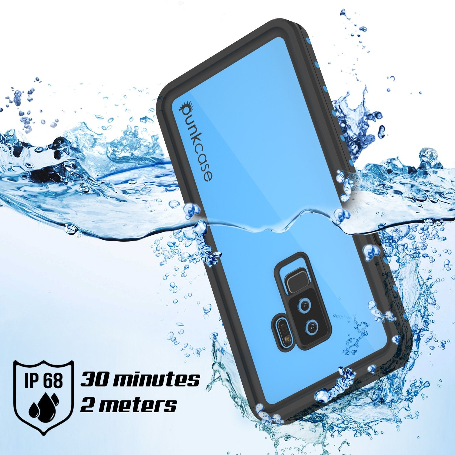 Galaxy S9 Plus Waterproof Case PunkCase StudStar Light Blue Thin 6.6ft Underwater IP68 ShockProof