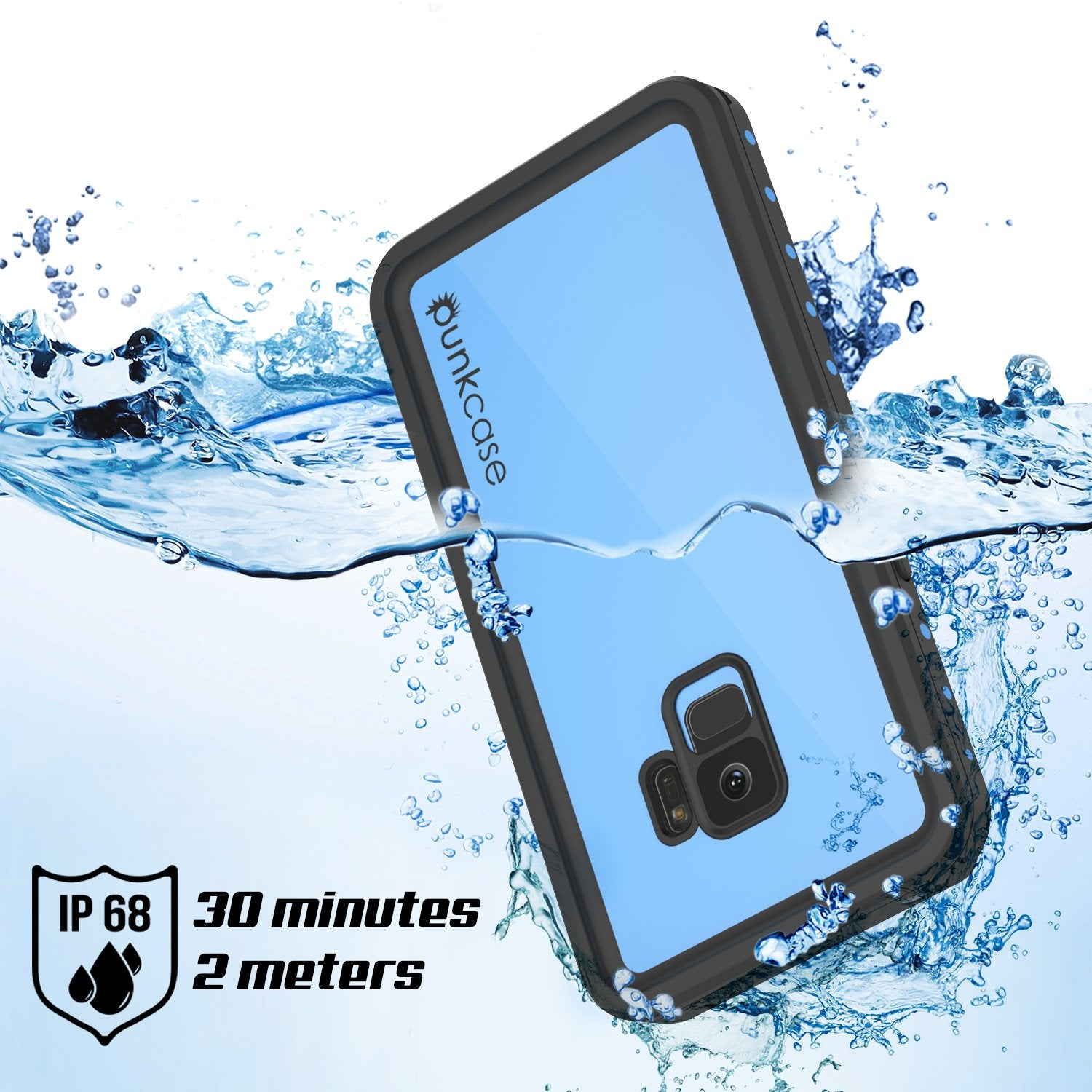 Galaxy S9 Waterproof Case PunkCase StudStar Light Blue Thin 6.6ft Underwater IP68 ShockProof