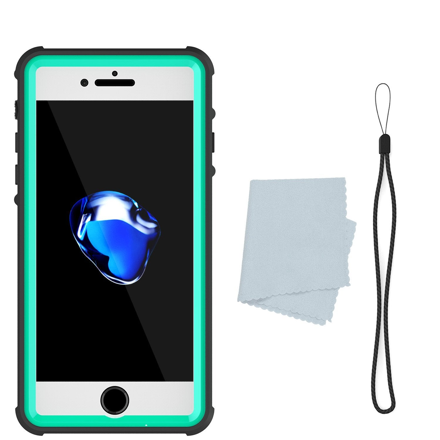 iPhone 8 Waterproof Case, PUNKCase [CRYSTAL SERIES] W/ Attached Screen Protector [TEAL]
