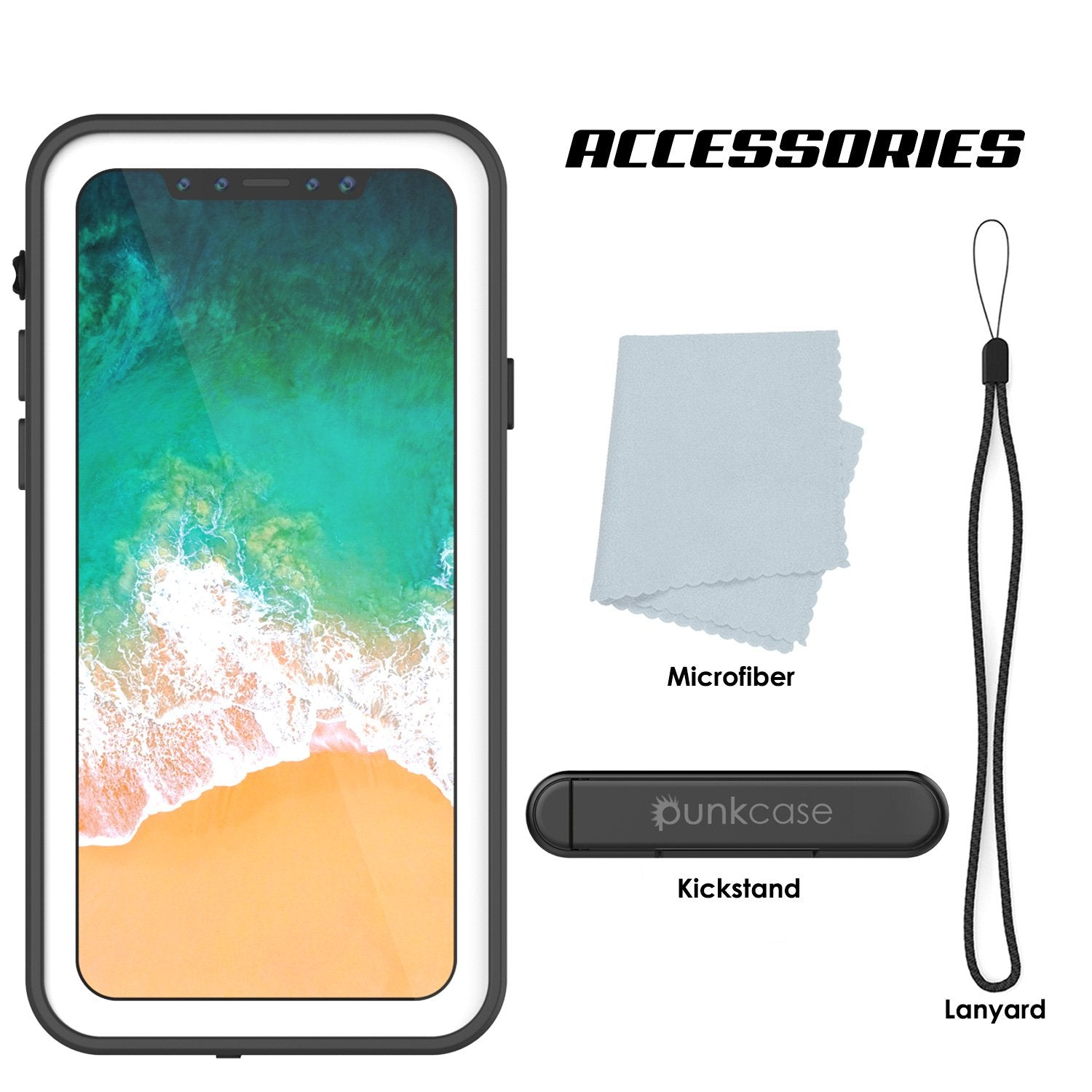 iPhone X Waterproof IP68 Case, Punkcase [White] [StudStar Series] [Slim Fit] [Dirtproof]
