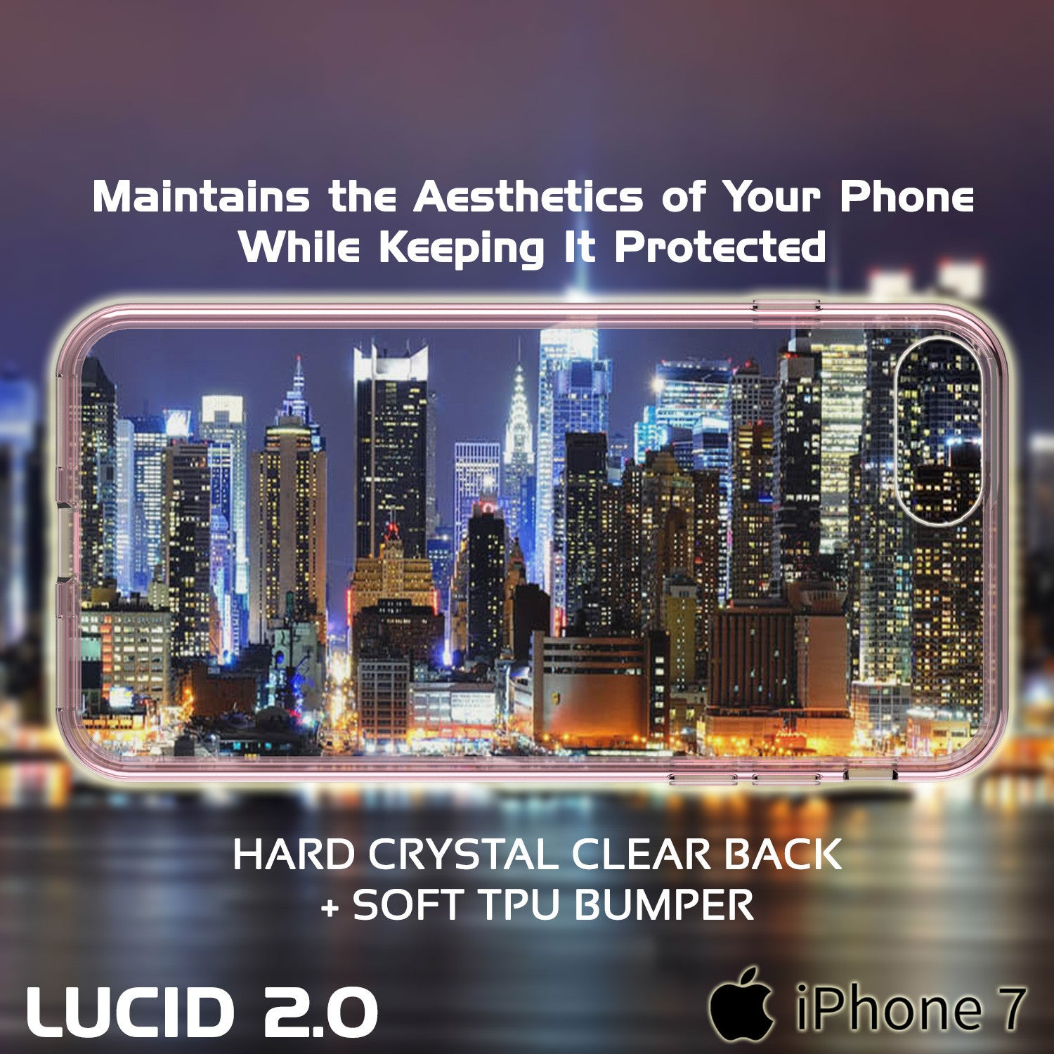 PUNKCASE - Lucid 2.0 Series Slick Frame Case for Apple IPhone 7 | Crystal Pink