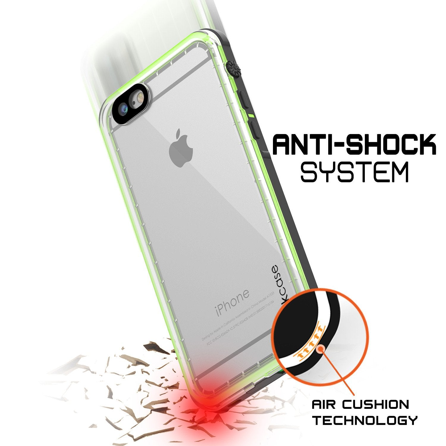 iPhone 8 Waterproof Case, PUNKCase [CRYSTAL SERIES] W/ Attached Screen Protector [LIGHT GREEN]