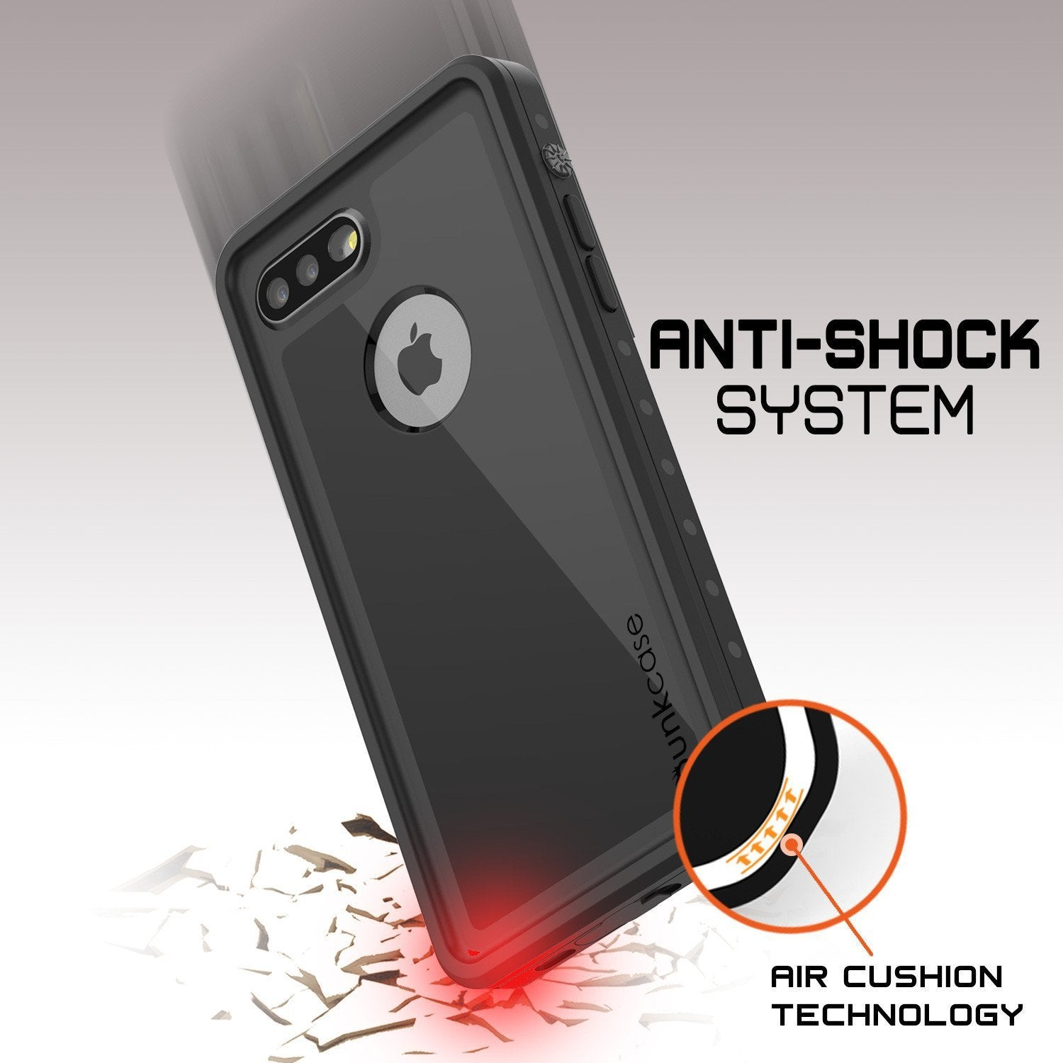 iPhone 8+ Plus Waterproof Case, Punkcase [StudStar] [Black] [Slim Fit] [IP68 Certified] [Shockproof] [Dirtproof] Armor Cover