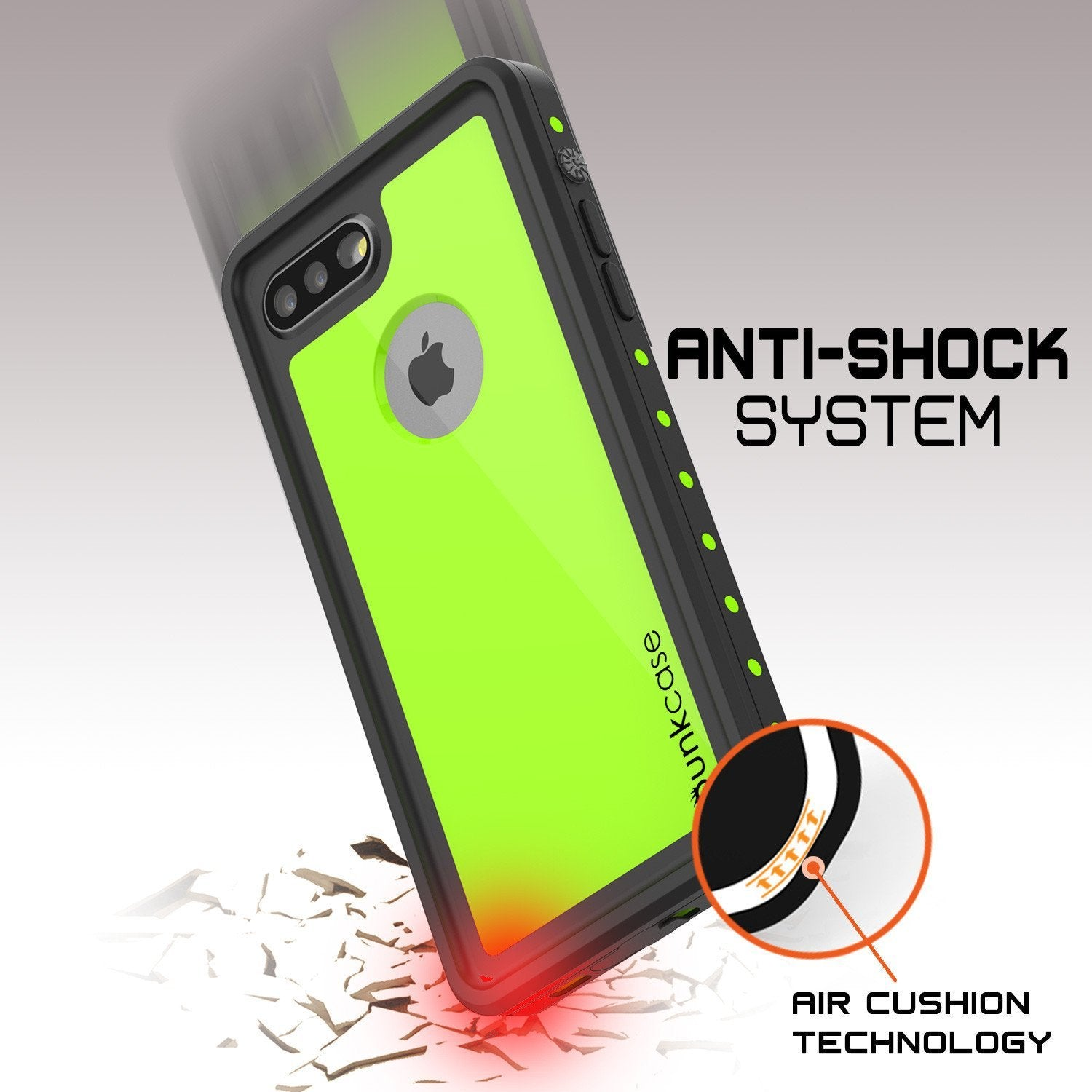 iPhone 8+ Plus Waterproof Case, Punkcase [StudStar] [Light Green] [Slim Fit] [IP68 Certified] [Shockproof] [Dirtproof] Armor Cover