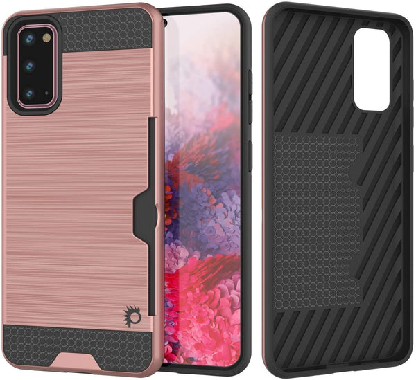 Galaxy S20 Case, PUNKcase [SLOT Series] [Slim Fit] Dual-Layer Armor Cover w/Integrated Anti-Shock System, Credit Card Slot [Rose Gold]
