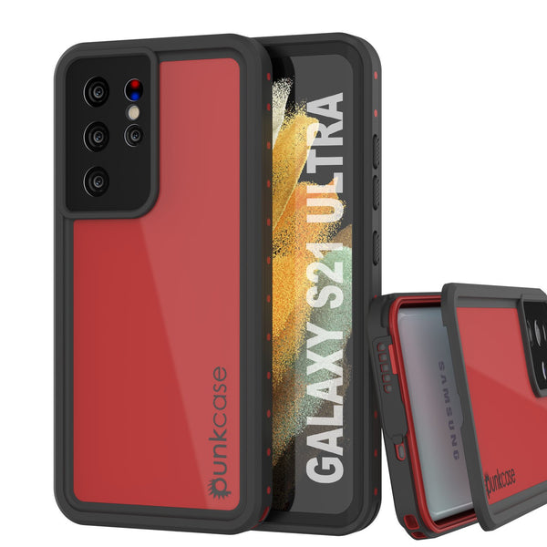 Galaxy S21 Ultra Waterproof Case PunkCase StudStar Red Thin 6.6ft Underwater IP68 Shock/Snow Proof