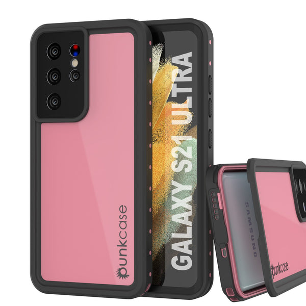 Galaxy S21 Ultra Waterproof Case PunkCase StudStar Pink Thin 6.6ft Underwater IP68 Shock/Snow Proof