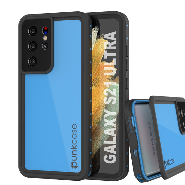 Galaxy S21 Ultra Waterproof Case PunkCase StudStar Light Blue Thin 6.6ft Underwater IP68 ShockProof