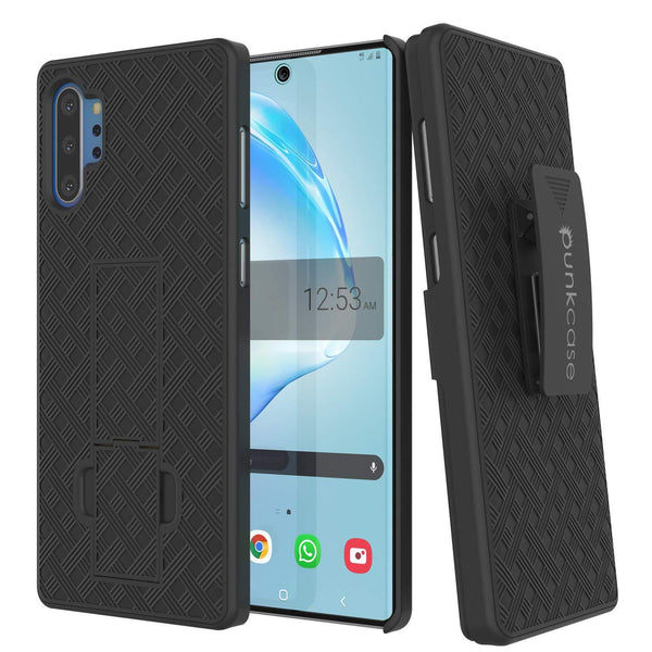 PunkCase Galaxy Note 10+ Plus Case with Screen Protector, Holster Belt Clip & Built-in Kickstand [Black]