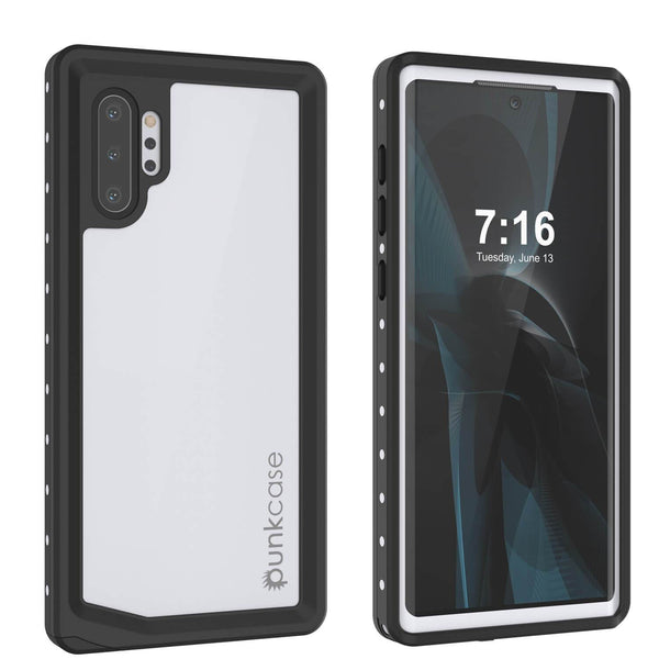Galaxy Note 10+ Plus Waterproof Case, Punkcase Studstar White Thin Armor Cover