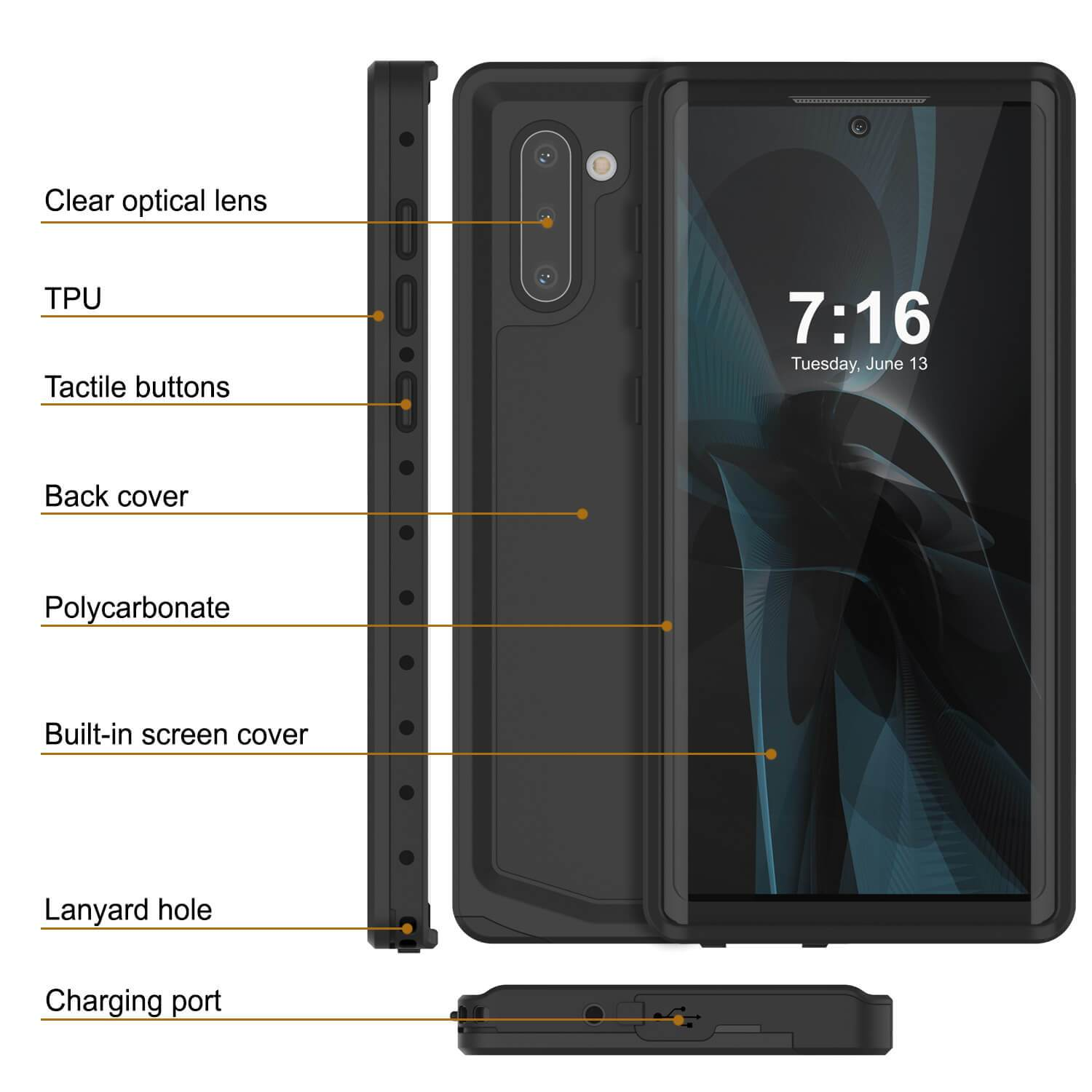 Galaxy Note 10 Waterproof Case, Punkcase Studstar Black Thin Armor Cover