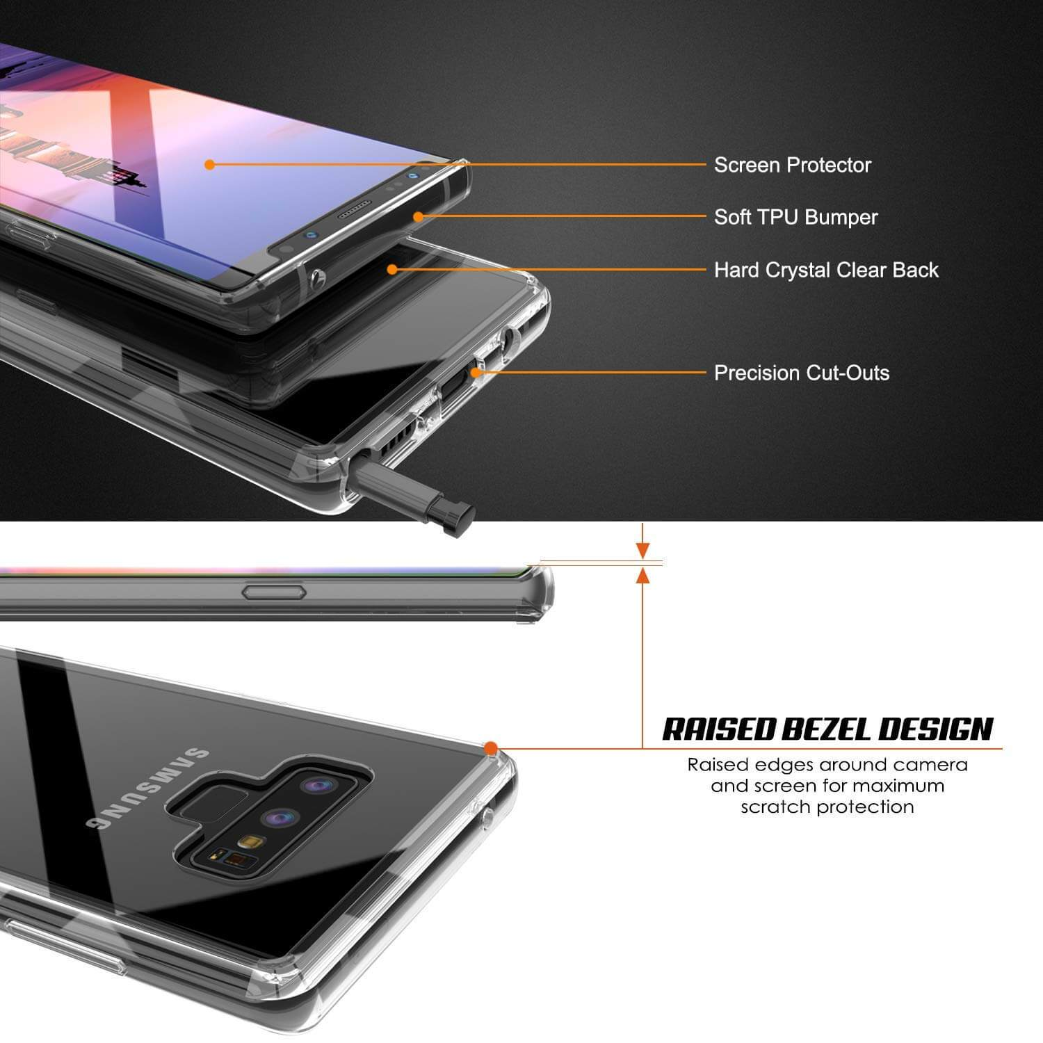 Galaxy Note 9 Case, PUNKcase [LUCID 2.0 Series] [Slim Fit] Armor Cover W/Integrated Anti-Shock System [Clear]