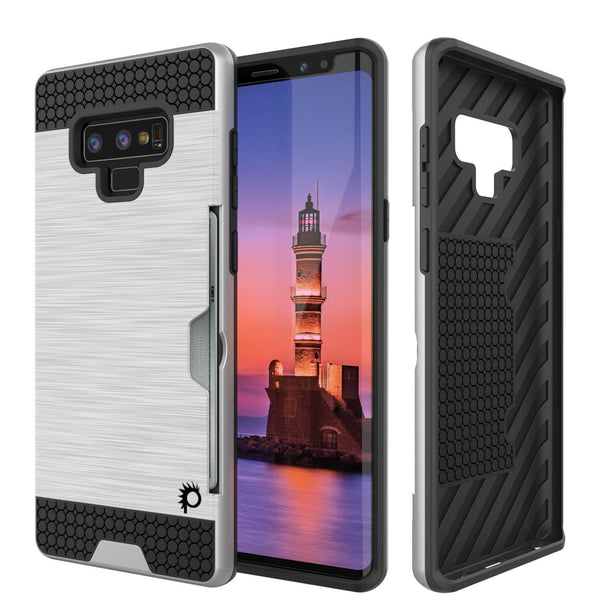 Galaxy Note 9 Case, PUNKcase [SLOT Series] Slim Fit  Samsung Note 9 [Silver]