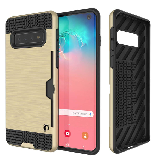 Galaxy S10 Case, PUNKcase [SLOT Series] [Slim Fit] Dual-Layer Armor Cover w/Integrated Anti-Shock System, Credit Card Slot [Gold]