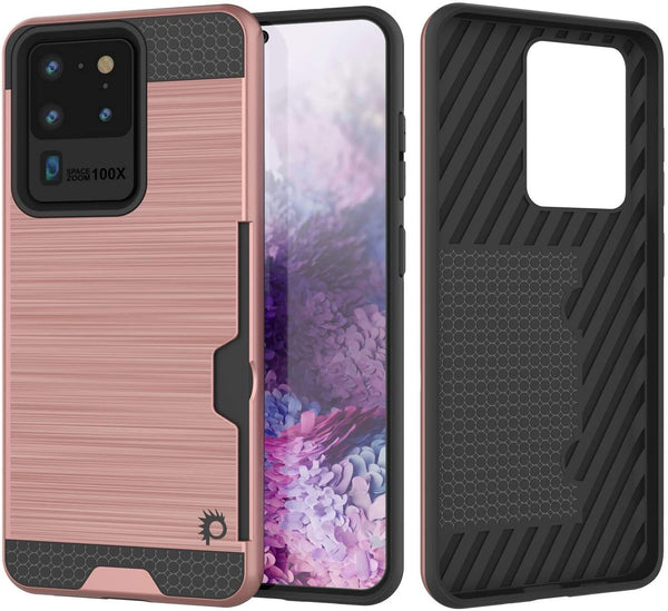 Galaxy S20 Ultra Case, PUNKcase [SLOT Series] [Slim Fit] Dual-Layer Armor Cover w/Integrated Anti-Shock System, Credit Card Slot [Rose Gold]