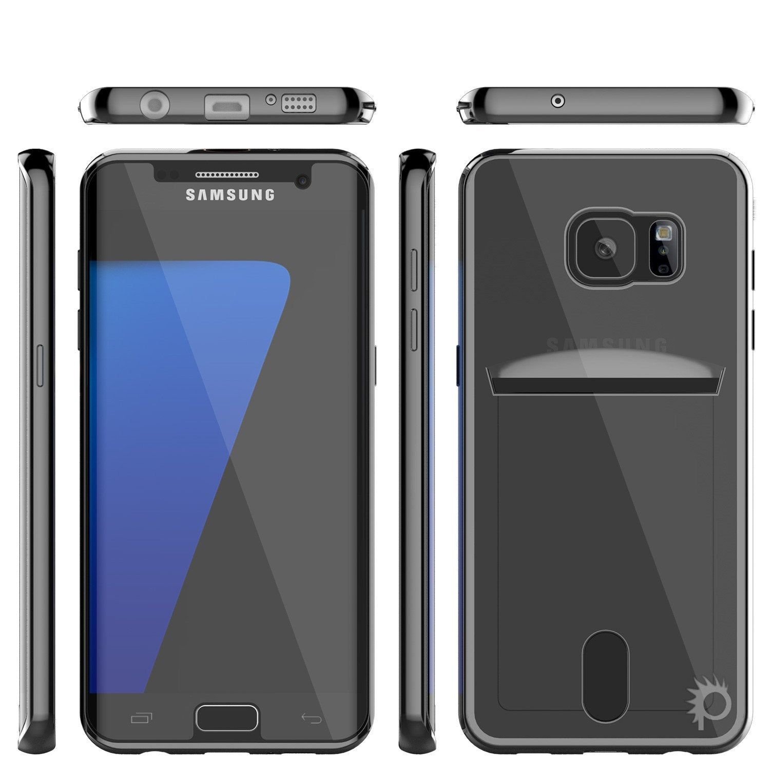 Galaxy S7 EDGE Case, PUNKCASE® LUCID Black Series | Card Slot | SHIELD Screen Protector | Ultra fit