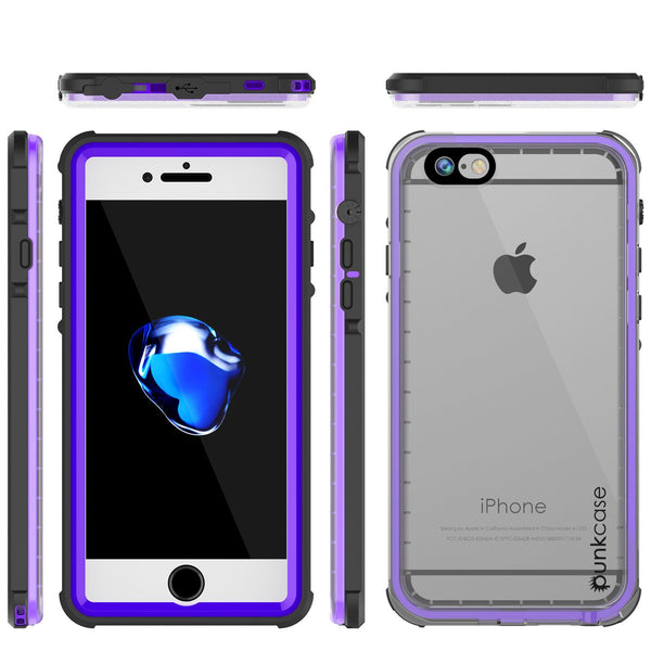 iPhone 8 Waterproof Case, PUNKCase [CRYSTAL SERIES] W/ Attached Screen Protector [PURPLE]