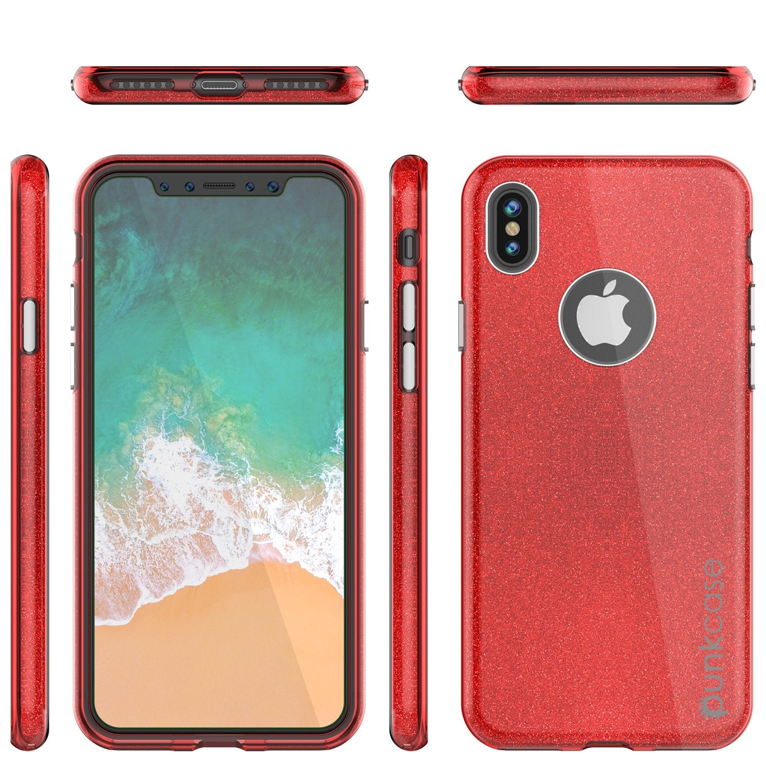 iPhone X Case, Punkcase Galactic 2.0 Series Ultra Slim w/ Tempered Glass Screen Protector | [Red]