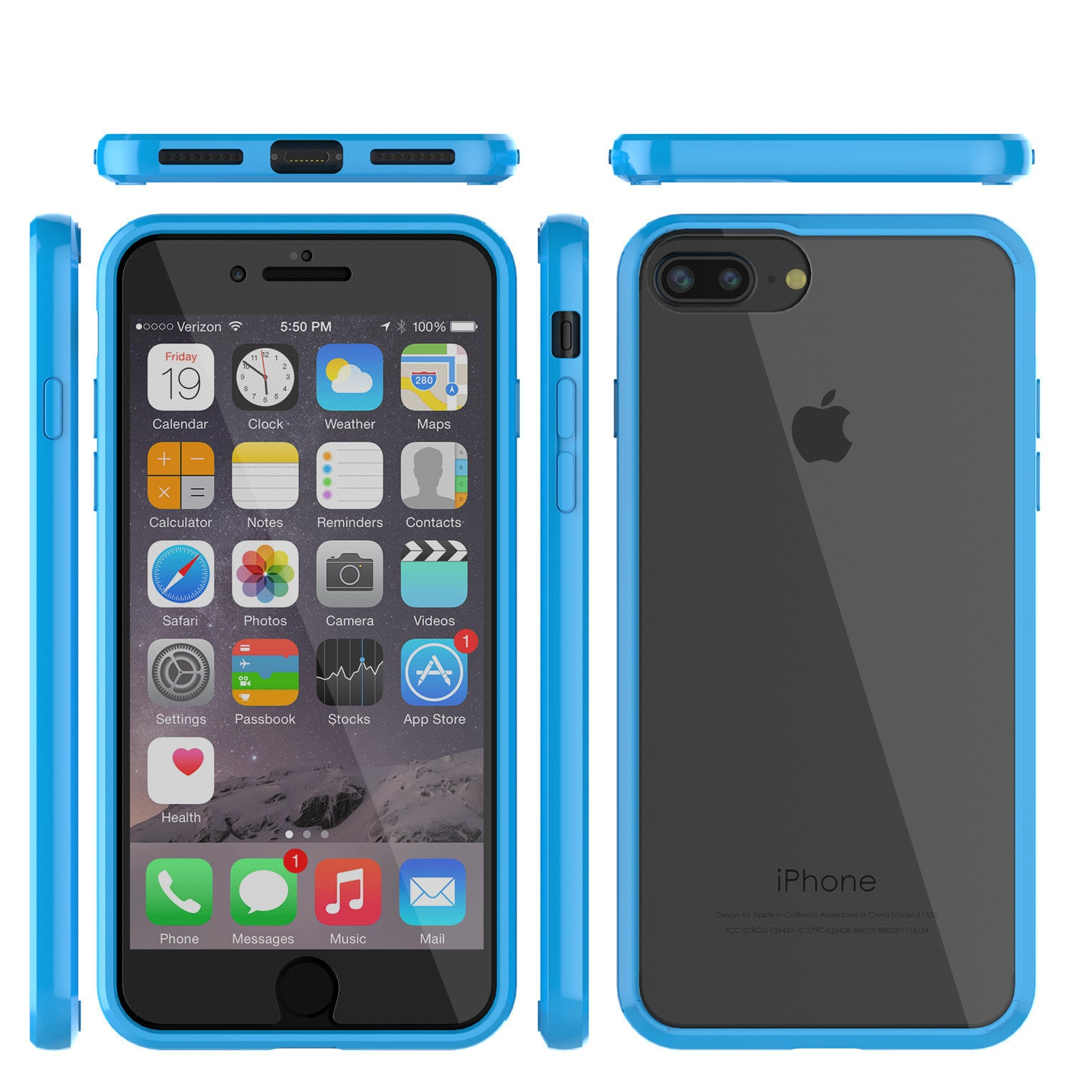 PUNKCASE - Lucid 2.0 Series Slick Frame Case for Apple IPhone 7+ Plus | Light Blue