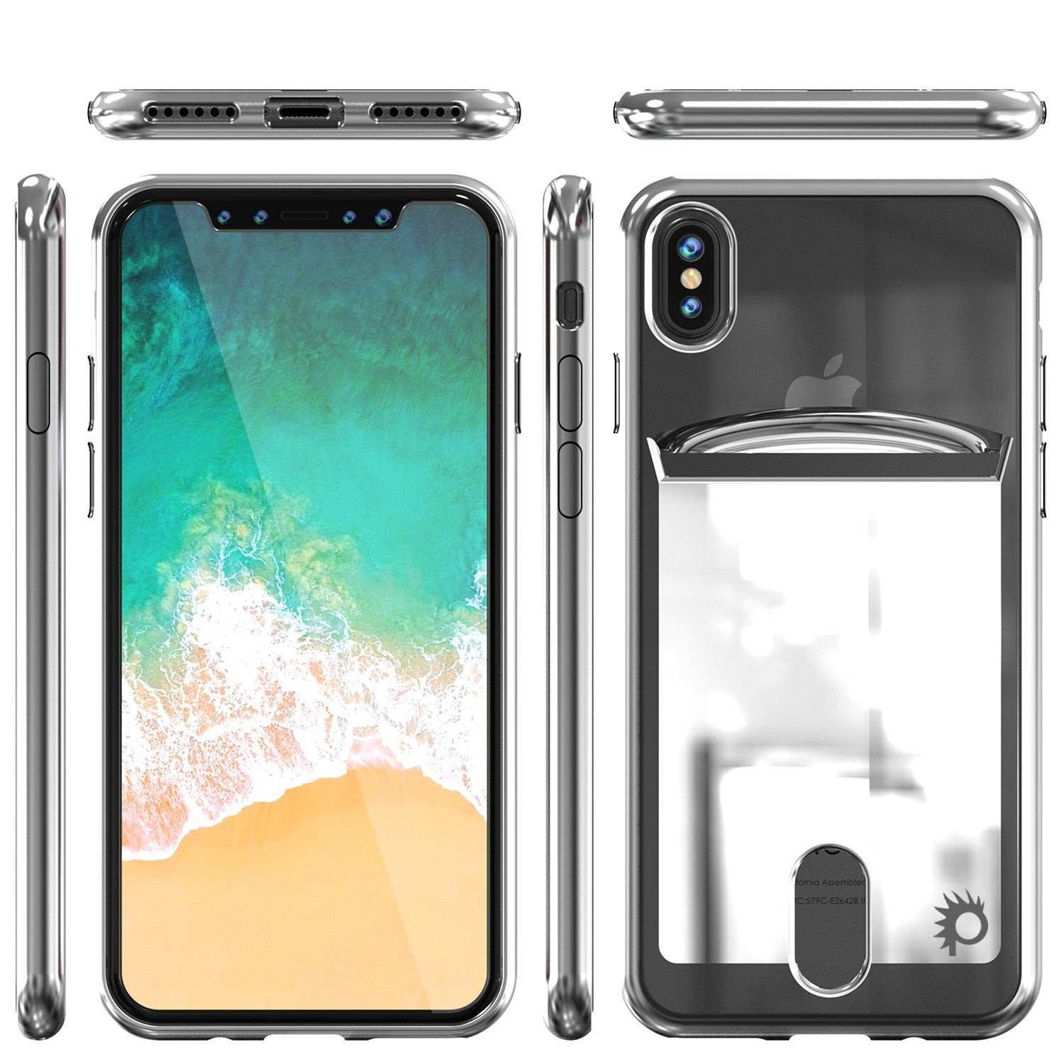 Punkcase iPhone X LUCID Series Dual Layer Armor Cover | SILVER