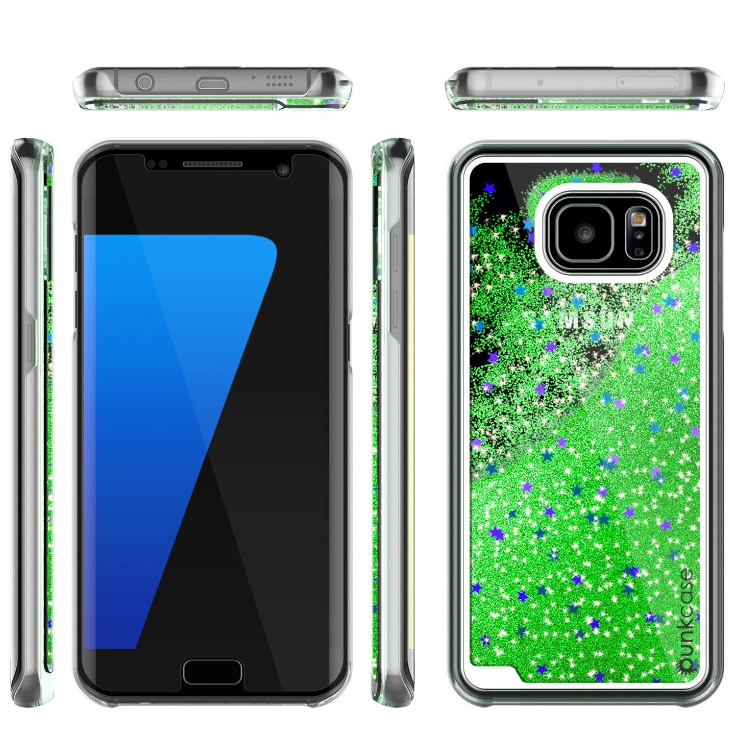 S7 Edge Case, PunkCase LIQUID Green Series, Protective Dual Layer Floating Glitter Cover