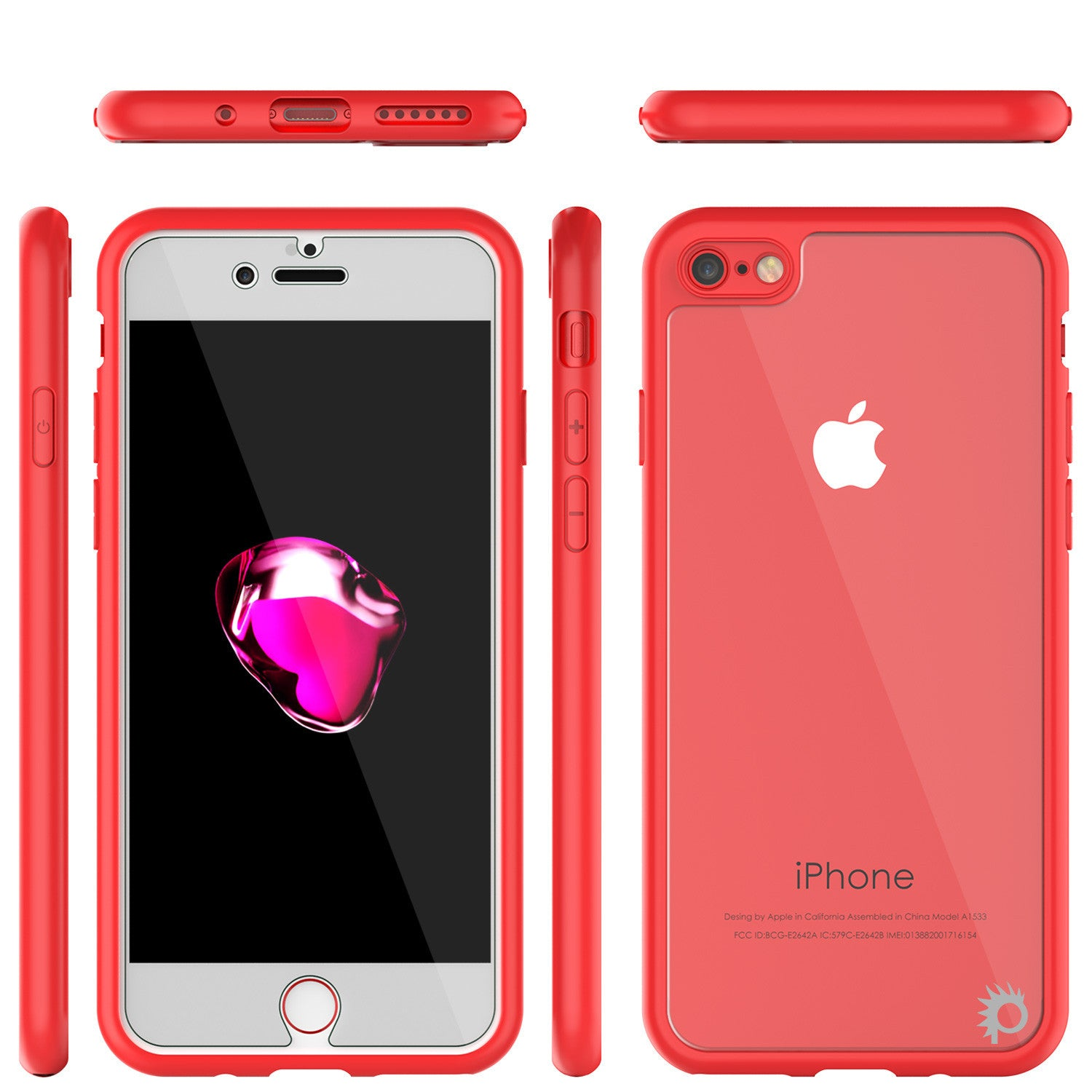 iPhone 7 Case, Punkcase [MASK Series] [RED] Full Body Hybrid Dual Layer TPU Cover protective Tempered Glass Screen Protector