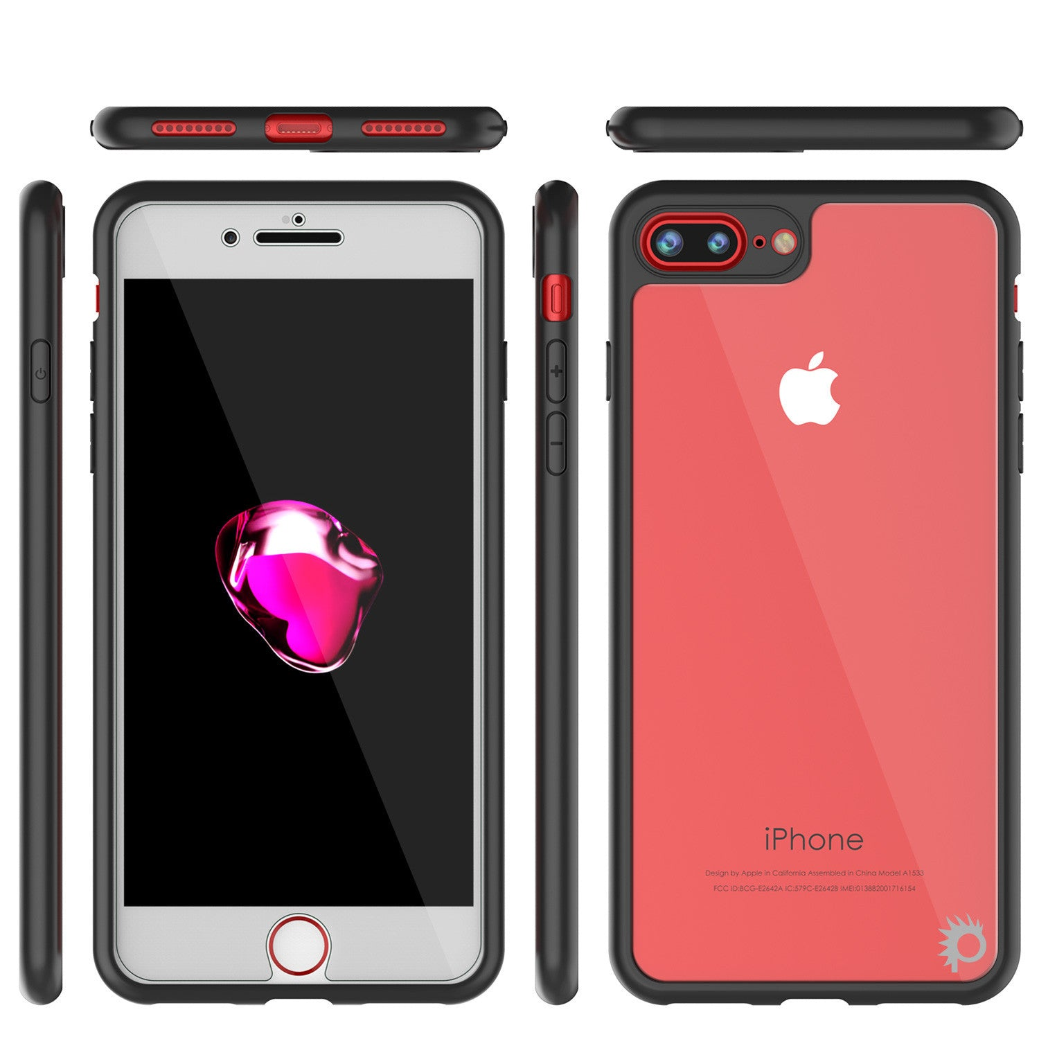 iPhone 7 PLUS Case, Punkcase [MASK Series] [BLACK] Full Body Hybrid Dual Layer TPU Cover W/ protective Tempered Glass Screen Protector