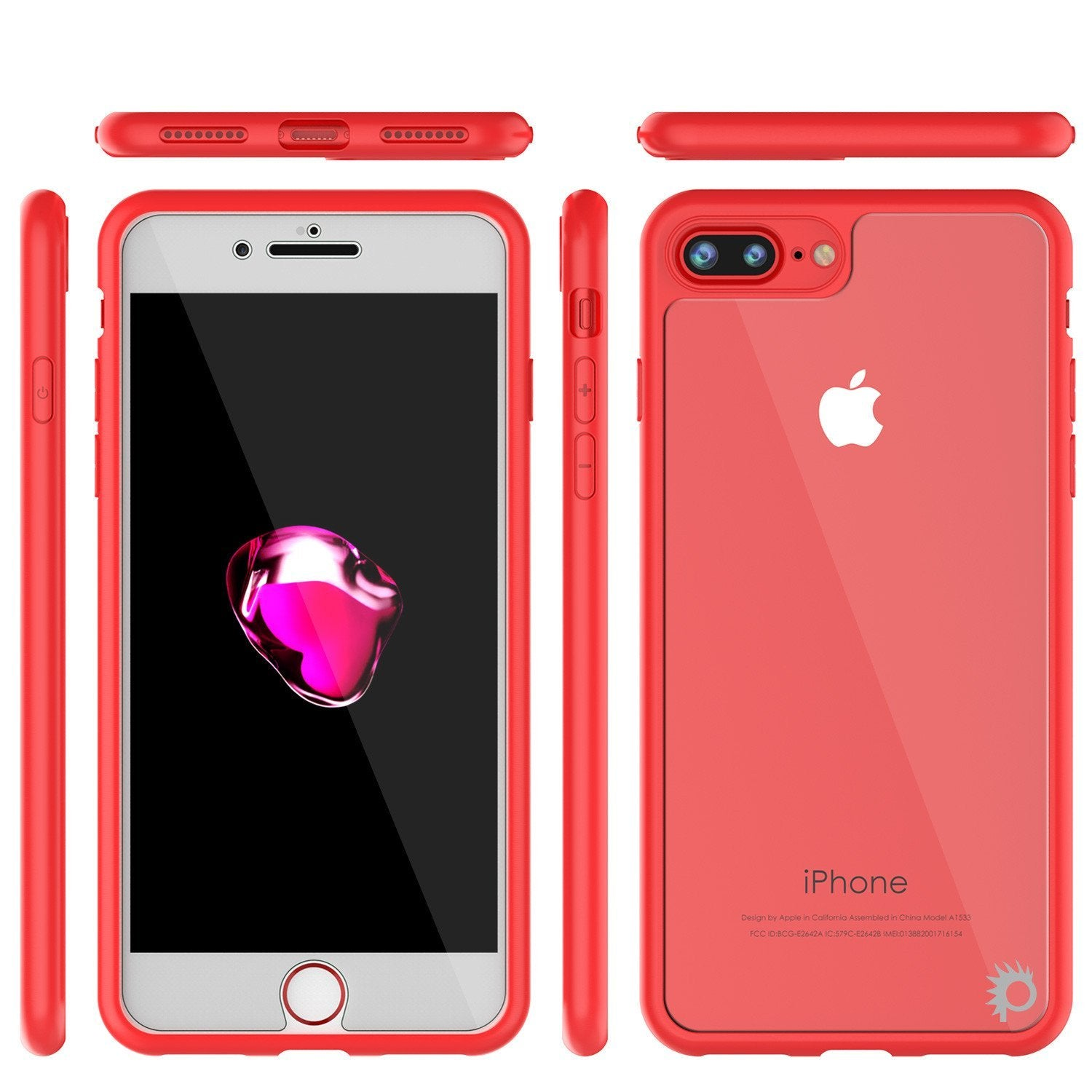 iPhone 8+ Plus Case [MASK Series] [RED] Full Body Hybrid Dual Layer TPU Cover W/ protective Tempered Glass Screen Protector