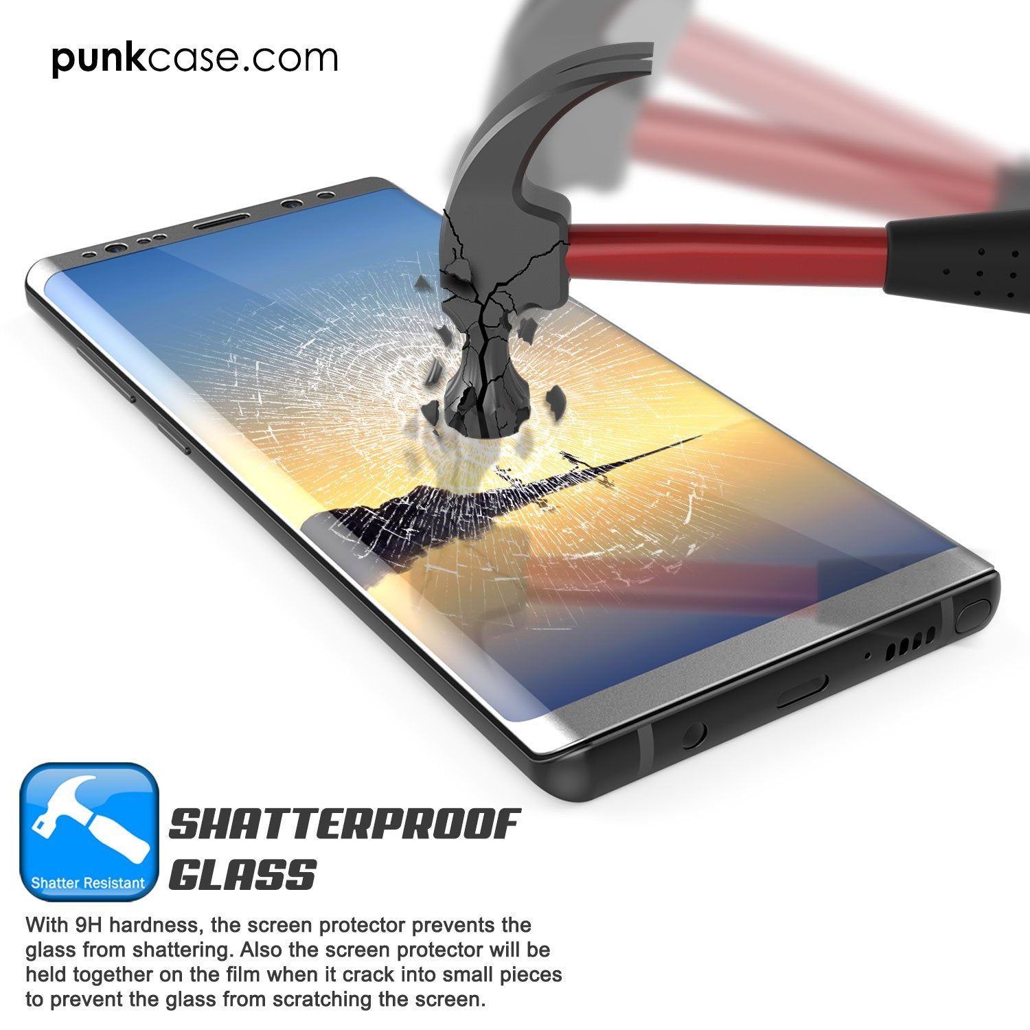 Galaxy Note 9 Black Punkcase Glass SHIELD Tempered Glass Screen Protector 0.33mm Thick 9H Glass