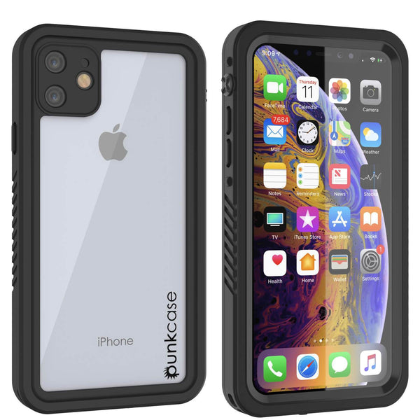 iPhone 12 Waterproof Case, Punkcase [Extreme Series] Armor Cover W/ Built In Screen Protector [Black]