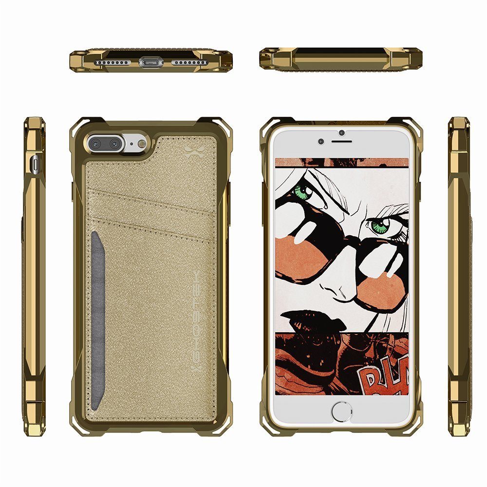 iPhone 7 Plus Wallet Case, Ghostek Exec Gold Series | Slim Armor Hybrid Impact Bumper | TPU PU Leather Credit Card Slot Holder Sleeve Cover
