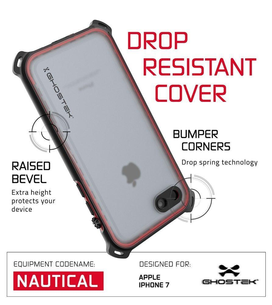 iPhone  8  Waterproof Case, Ghostek Nautical Series for iPhone  8  | Slim Underwater Protection | Adventure Duty | Ultra Fit | Swimming (Red)