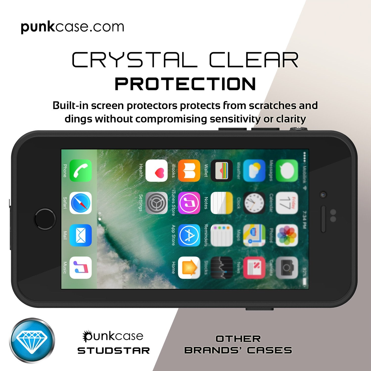 iPhone 7 Waterproof IP68 Case, Punkcase [Clear] [StudStar Series] [Slim Fit] [Dirtproof] [Snowproof]