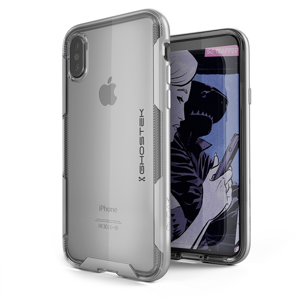 iPhone X Case, Ghostek Cloak 3 Series Ultra Slim Clear Hybrid Shockproof Protective Cover Designed for iPhone 10 – Supports Wireless Charging | Silver