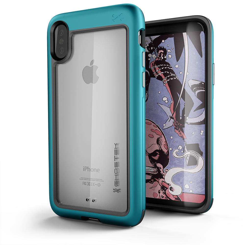 Ghostek Atomic Slim Apple iPhone X Case, Rugged Heavy Duty Military Grade Cover | Industrial Strength Aluminum Alloy Frame + Raised Rubberized Corners & Bezel | Face ID Compatible | Teal
