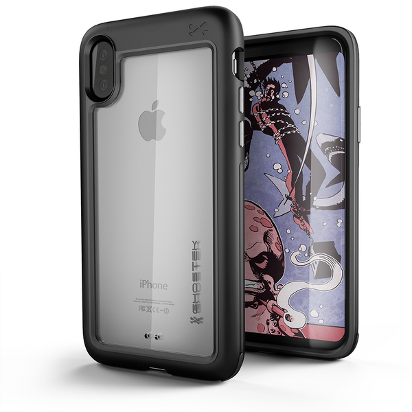 Ghostek Atomic Slim Hybrid iPhone X Case with Industrial Strength Military Drop Protection for Apple iPhone X 2017 | Supports Qi Wireless Charging | Works with Face ID | Black