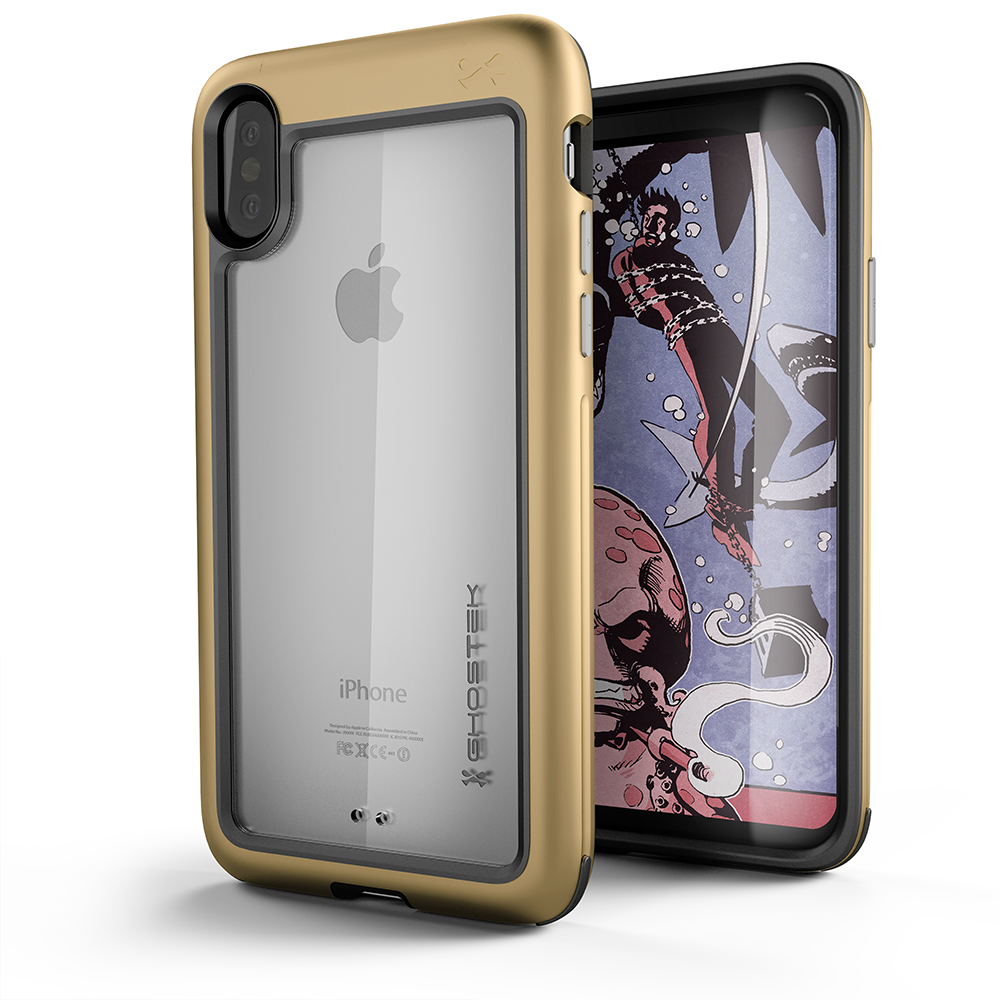iPhone X Case, Ghostek Atomic Slim Fit Strong Aluminum Bumper + Soft TPU Shell | Rubber Corners & Bezel | Face ID Compatible | Supports Qi Wireless Charging | Gold