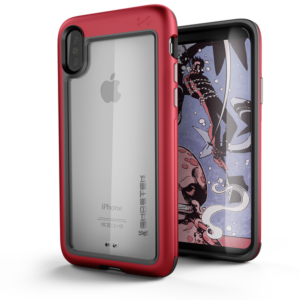 Ghostek Atomic Slim iPhone X Case with Shockproof Aluminum Bumper Heavy Duty | Supports Qi Wireless Charging + Works Flawlessly with Face ID | Red