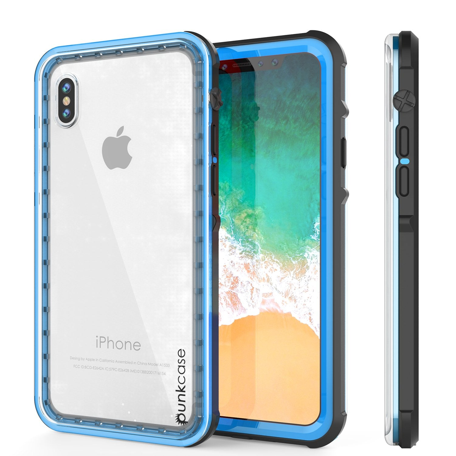 iPhone X Case, PUNKCase [CRYSTAL SERIES] Protective IP68 Certified Cover W/ Attached Screen Protector - DustPROOF, ShockPROOF, SnowPROOF - Ultra Slim Fit for Apple iPhone 10 [LIGHT BLUE]