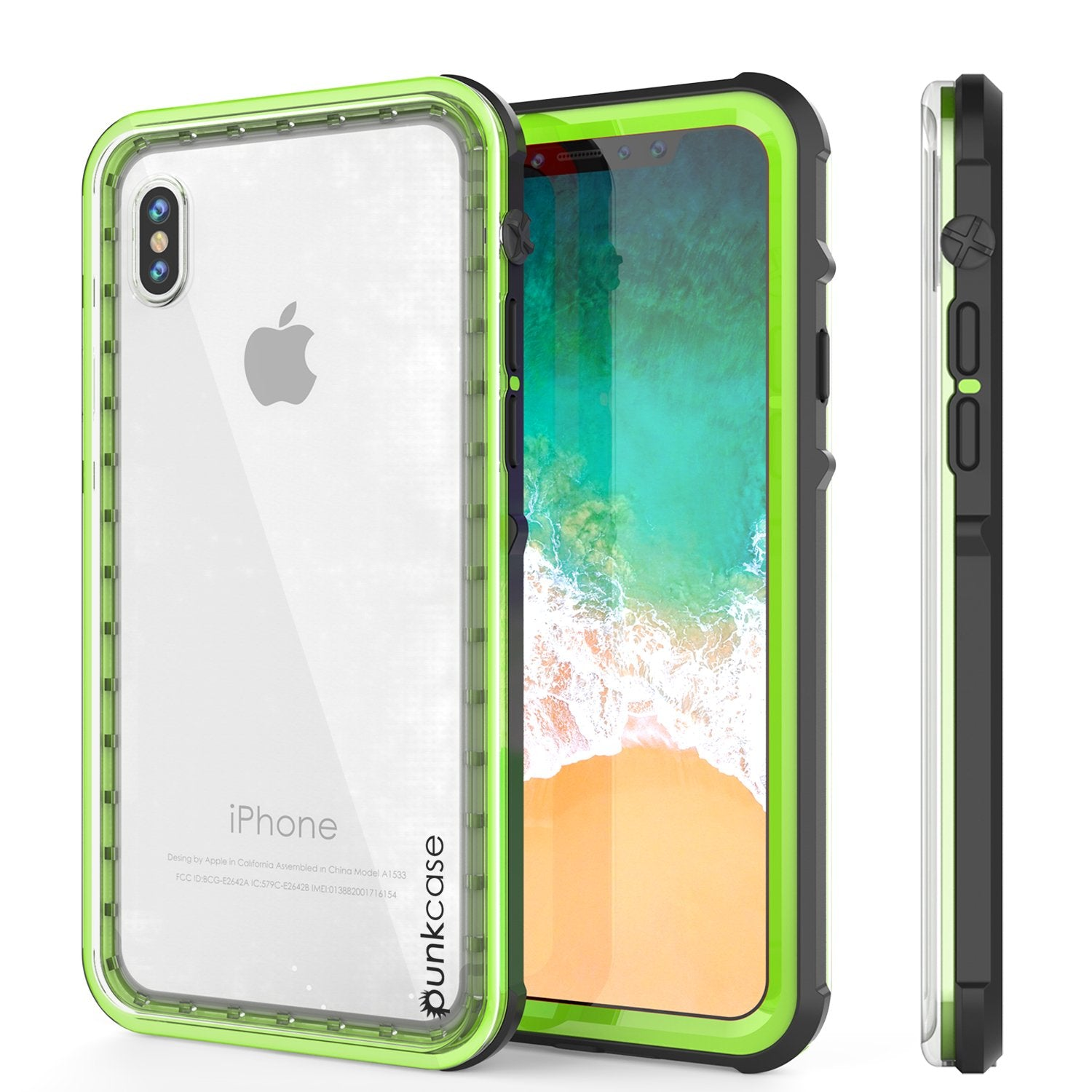 iPhone X Case, PUNKCase [CRYSTAL SERIES] Protective IP68 Certified Cover W/ Attached Screen Protector - DustPROOF, ShockPROOF, SnowPROOF - Ultra Slim Fit for Apple iPhone 10 [LIGHT GREEN]