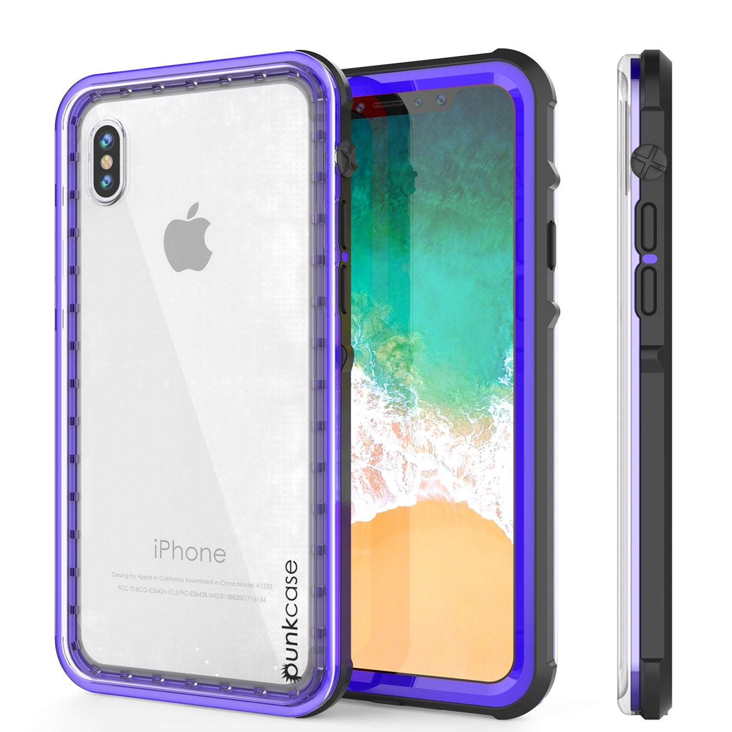iPhone X Case, PUNKCase [CRYSTAL SERIES] Protective IP68 Certified Cover W/ Attached Screen Protector - DustPROOF, ShockPROOF, SnowPROOF - Ultra Slim Fit for Apple iPhone 10 [PURPLE]