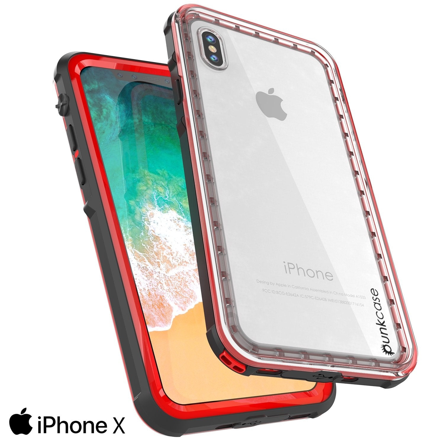 iPhone X Case, PUNKCase [CRYSTAL SERIES] Protective IP68 Certified Cover W/ Attached Screen Protector - DustPROOF, ShockPROOF, SnowPROOF - Ultra Slim Fit for Apple iPhone 10 [RED]