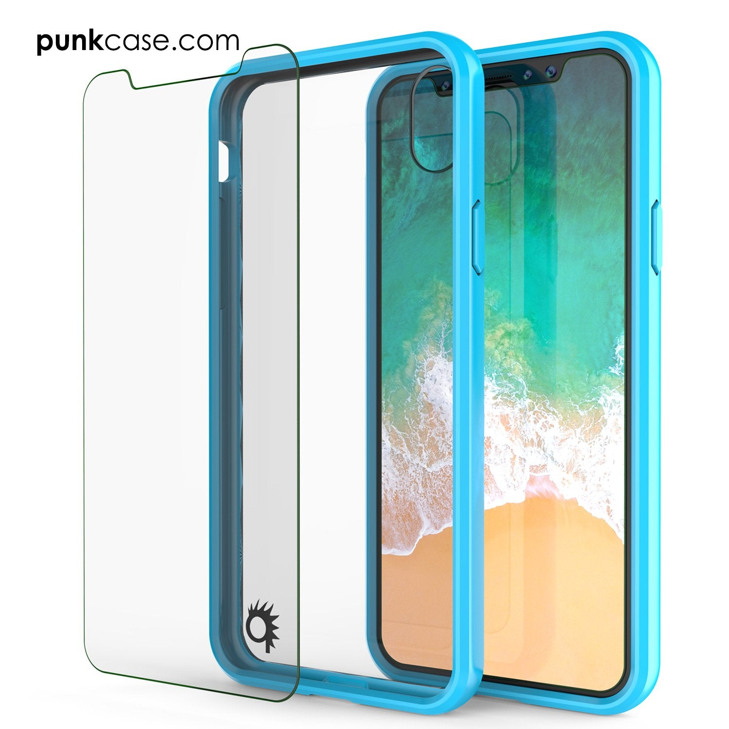 iPhone X Case, PUNKcase [LUCID 2.0 Series] [Slim Fit] Armor Cover W/Integrated Anti-Shock System & Tempered Glass Screen Protector [Light Blue]