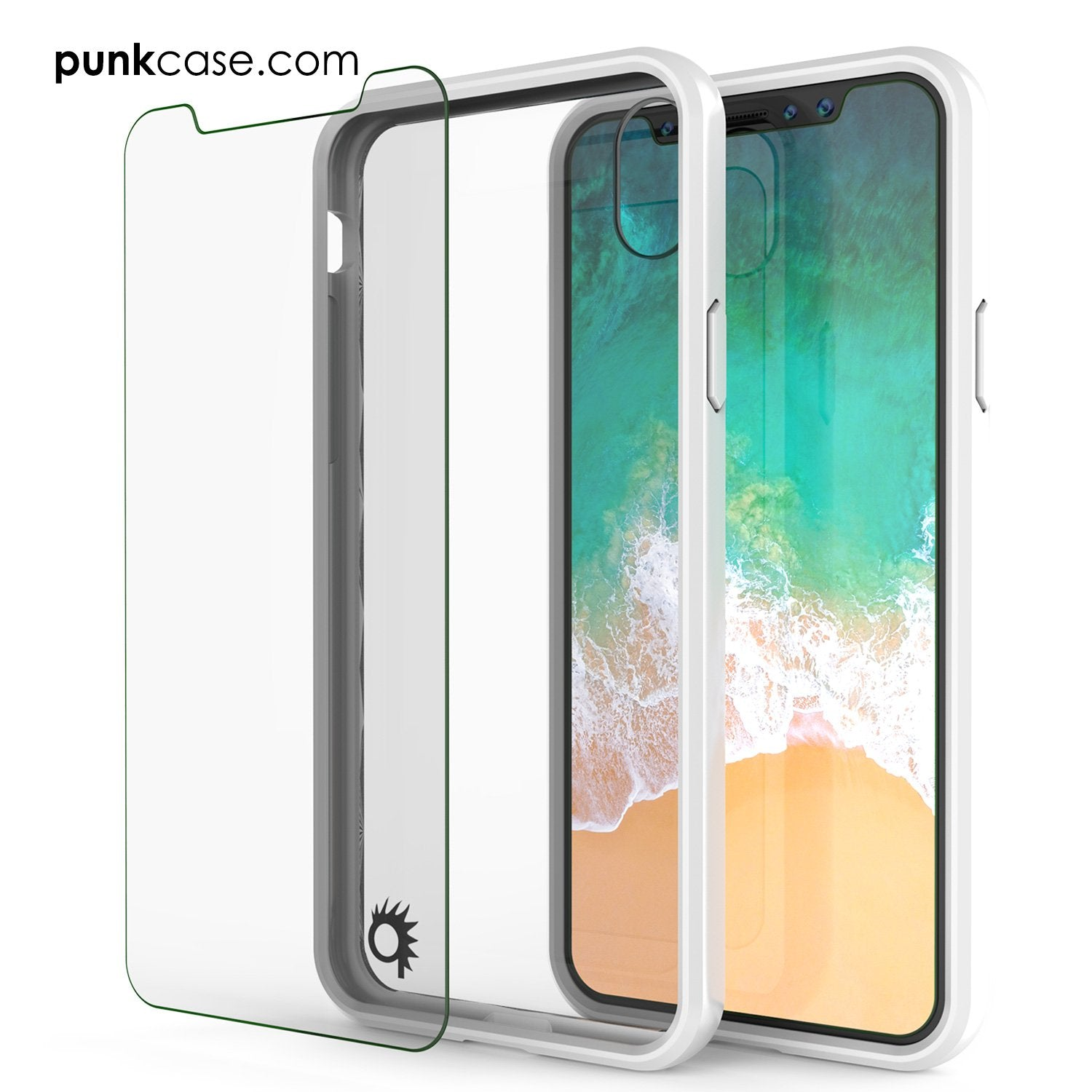 iPhone X Case, PUNKcase [LUCID 2.0 Series] [Slim Fit] Armor Cover W/Integrated Anti-Shock System & Tempered Glass PUNKSHIELD Screen Protector [White]
