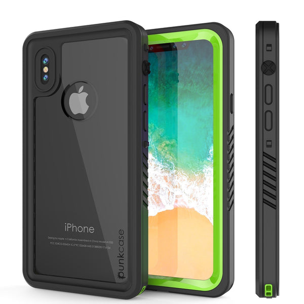 iPhone XS Max Waterproof Case, Punkcase [Extreme Series] Armor Cover W/ Built In Screen Protector [Light Green]